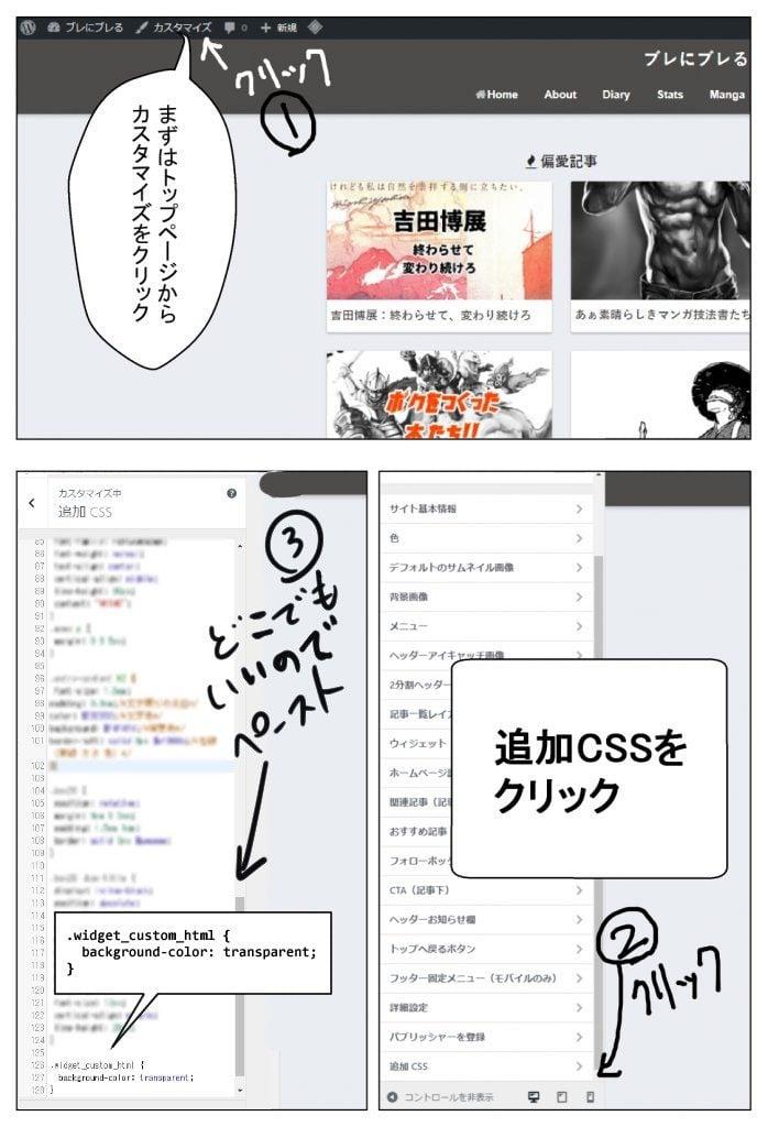 追加CSS 背景透明 余白 ウィジェット